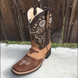 Mens Genuine Leather Square toe Boots